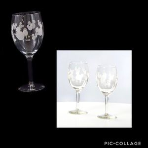 Two (2) Mickey Mouse Head Etched Wine Glasses